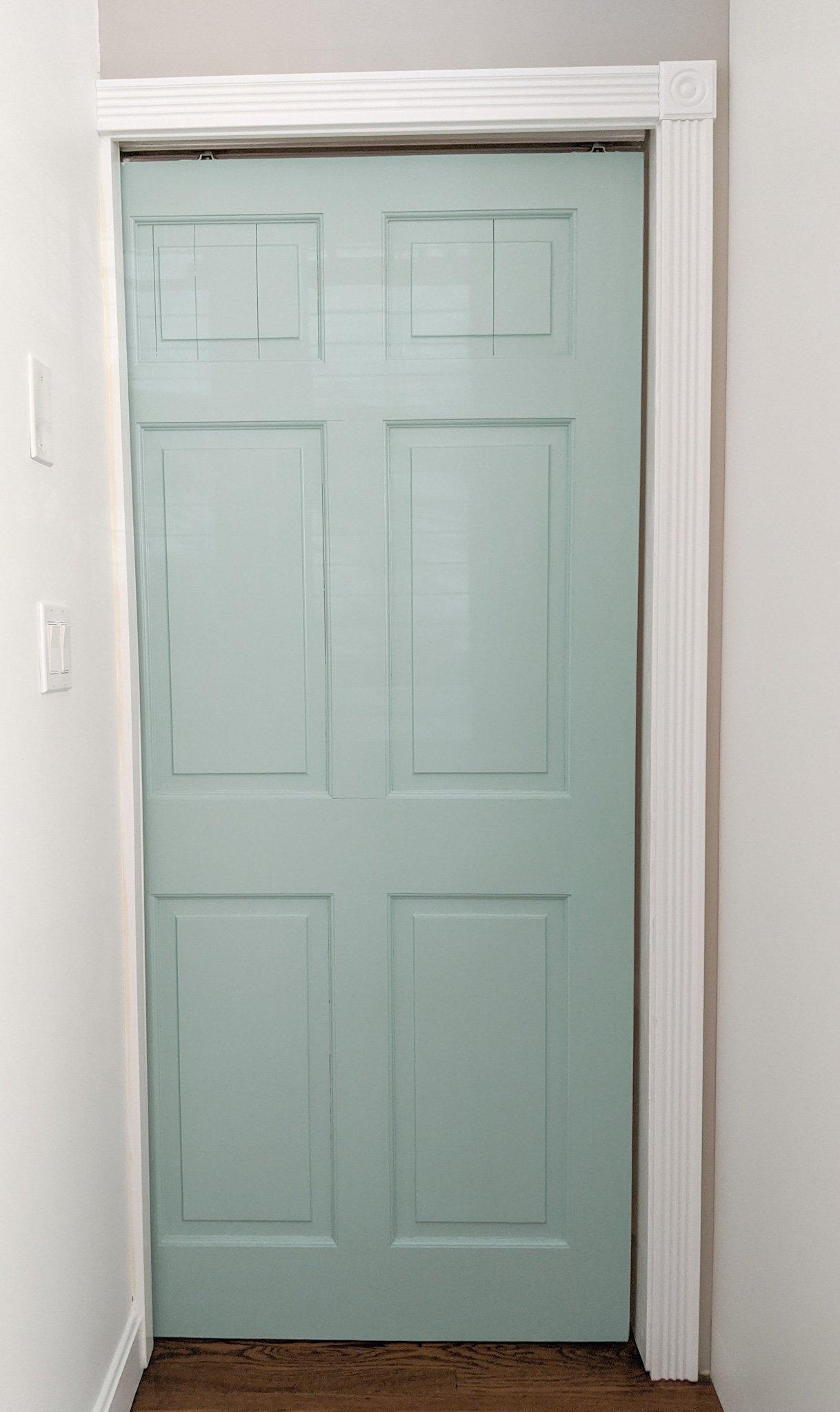 The freshly painted door
