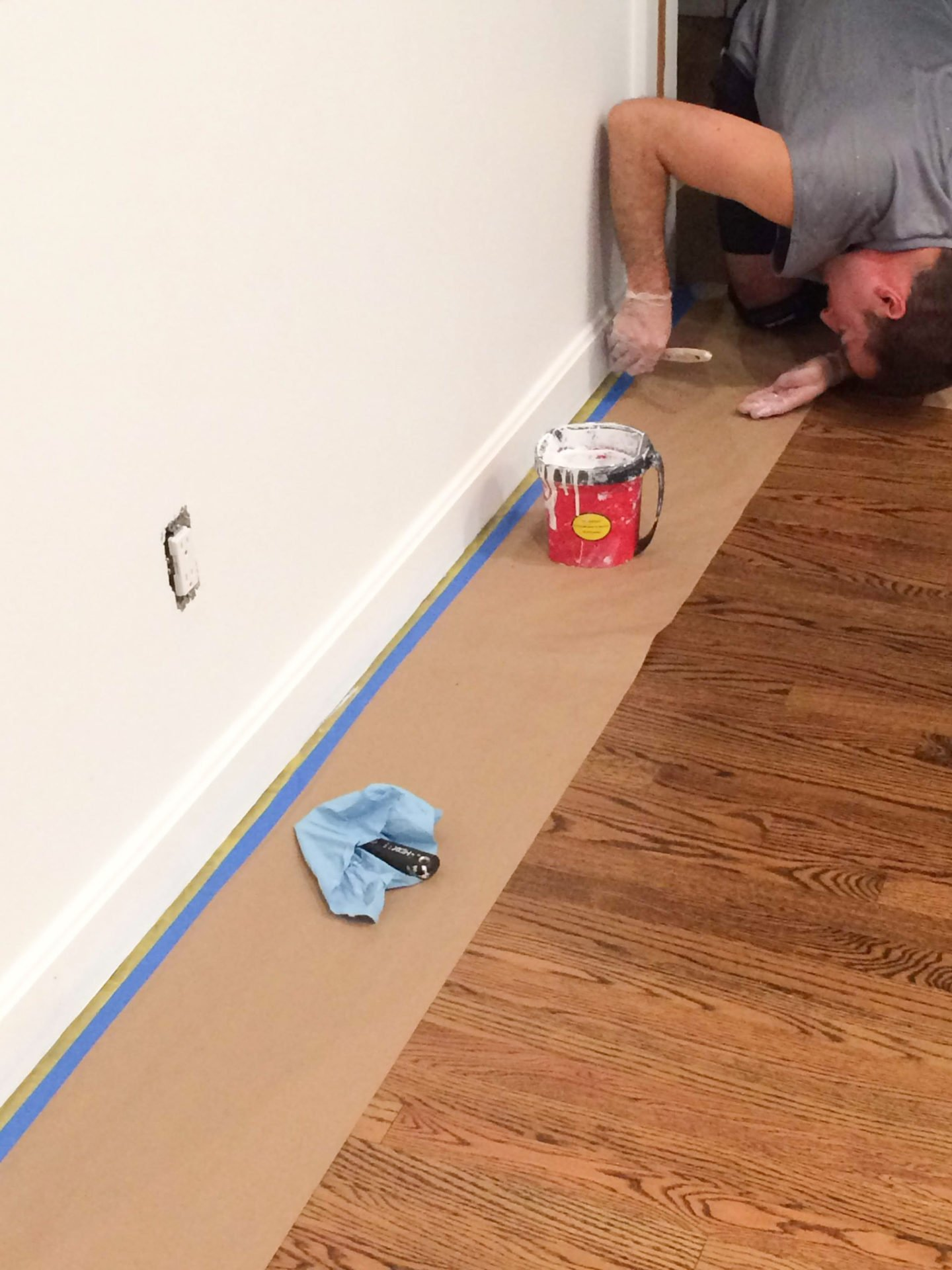 Use making paper for paint touch-ups, after refinishing hardwood floors