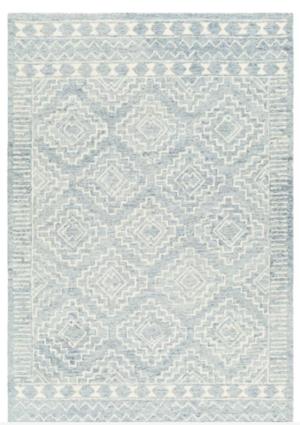 Kardos Oriental Handmade Tufted Wool Blue/Ivory Area Rug