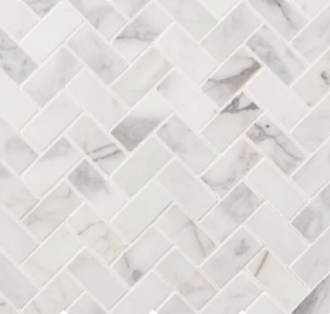 Calacatta Cressa 1″ x 2″ Natural Stone Herringbone / Chevron Mosaic Wall & Floor Tile