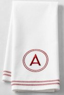 Red Embroidered Monogram Towel